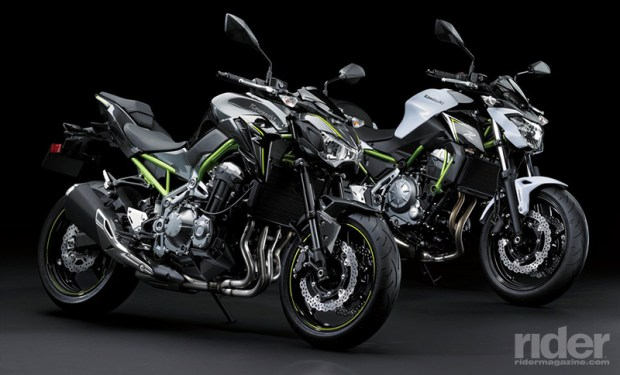 The 2017 Kawasaki Z900 ABS (left) and its smaller sibling, the Z650 ABS (right).