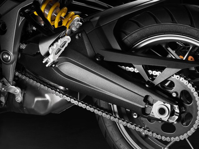 The 2017 Ducati Multistrada 950 has a cast aluminum, two-sided swingarm. The fully adjustable rear shock with remote preload adjustment is by Sachs.