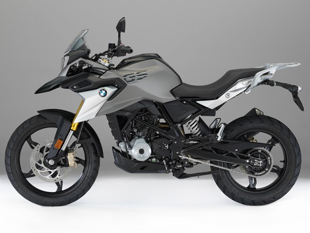 The 2017 BMW G 310 GS comes in Racing Red (top), Pearl White (above middle) or Cosmic Black (above).