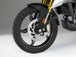 The BMW G 310 GS has cast wheels, dual disc brakes and switchable ABS.