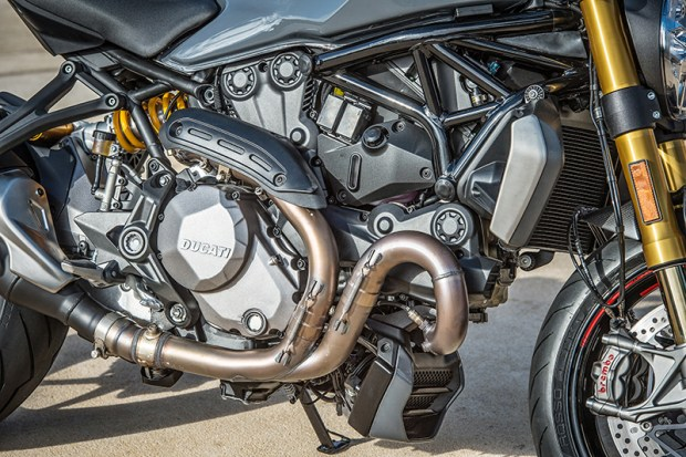 With new, higher-compression cylinder heads and larger oval throttle bodies, the Ducati Monster 1200 S makes 150 horsepower and 93 lb-ft of torque (claimed, at the crank).