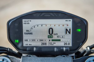 The Ducati Monster 1200's full-color TFT display has been updated and has crisp graphics.