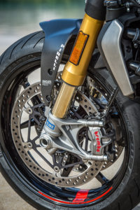 The Ducati Monster 1200 S has Öhlins suspension, top-shelf Brembo M50 calipers and Pirelli Diablo Rosso III tires.