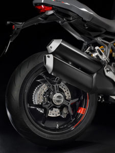 """The Monster 1200 S rolls on special triple Y-spoke wheels with exclusive """"S"""" graphics. Single-sided swingarm is beefier."""