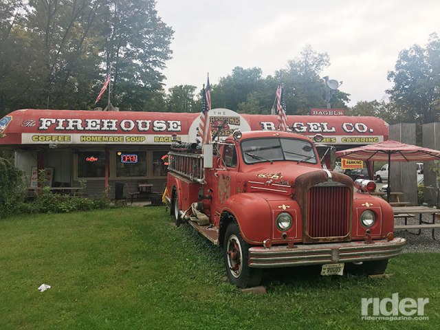 The Firehouse Bagel Company on U.S. Route 206 in Branchville, New Jersey, is filled with firefighting and 9/11 memorabilia. (Photo: the author)