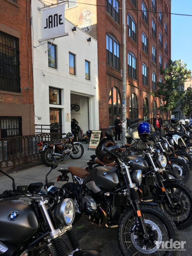 40 moto-journalists and BMW employees descended on Jane Motorcycles in Brooklyn. (Photo: the author)