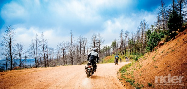 With our adventure bikes, we rode a good many miles on dirt roads; here we are in the Rampart Range, which suffered a massive fire several years ago.