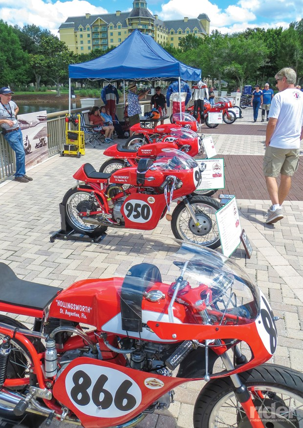 This collection of Aermacchi Harley-Davidson and Harley-Davidson race bikes from the Hollingsworth Race Team practically stole the show.