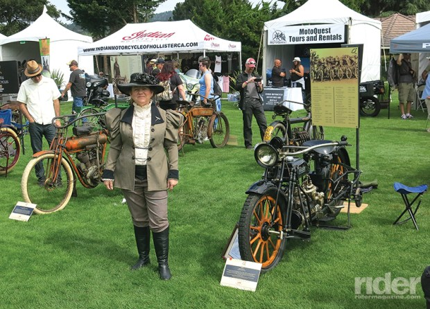 The antique section of the show drew a lot of attention, and here an appropriately dressed lady is standing between a 1911 Flying Merkel (to the left) and a 1915 Militaire.