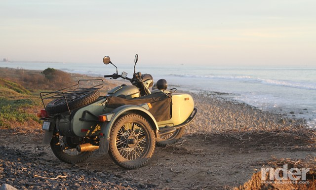 After 500 miles of grueling dual-sport riding, the Ural contemplates a bath in the cold Pacific.