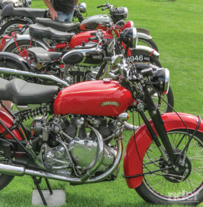 A row of shiny British bikes will always have an attentive audience; these used to be relatively inexpensive collectibles, but many prices, like with Vincents, have gone sky-high.