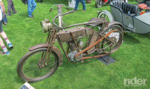 Back in 1913 this belt-driven, magneto-fired Harley-Davidson single would have cost you $290; we don't know how much the aftermarket lighting would have set you back.