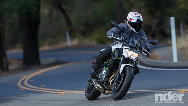 The Z650 is nimble and fun to ride. At a claimed 410 pounds fully fueled and ready to ride, it slots in between the SV650 and FZ-07 weight-wise.