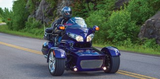 Motor Trike Prowler RT (reverse trike) kit on a Honda GL 1800 Goldwing.