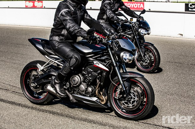 The 2017 Street Triple R and RS make a mean-looking pair.