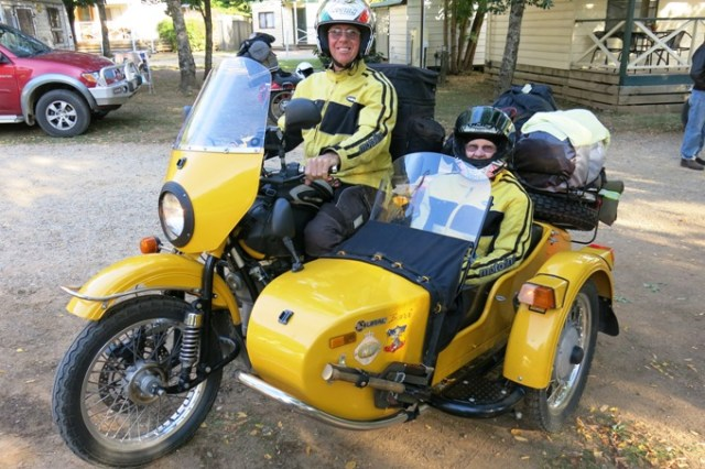 Ural sidecar with passenger.