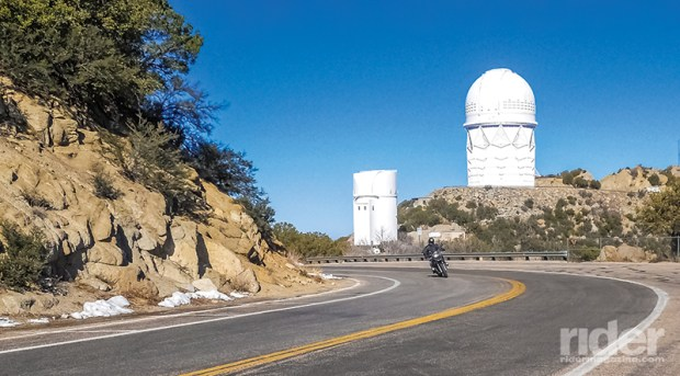 The road up to Kitt Peak National Observatory provides a winding and view-filled ascent.