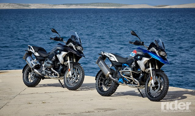 2017 BMW R 1200 GS with Style 2 (Exclusive, left) and Style 1 (Rally, right) packages