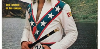 Evel Knievel with his famous leathers and walking stick, on the cover of Sports Illustrated. Image courtesy of Heritage Auctions, HA.com.