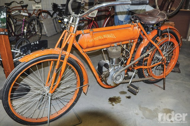 The Flying Merkel, manufactured in Middletown, Ohio, on display at Pioneer Village. Note the final drive: flaps of leather riveted together. Would you call that a belt or a chain drive?