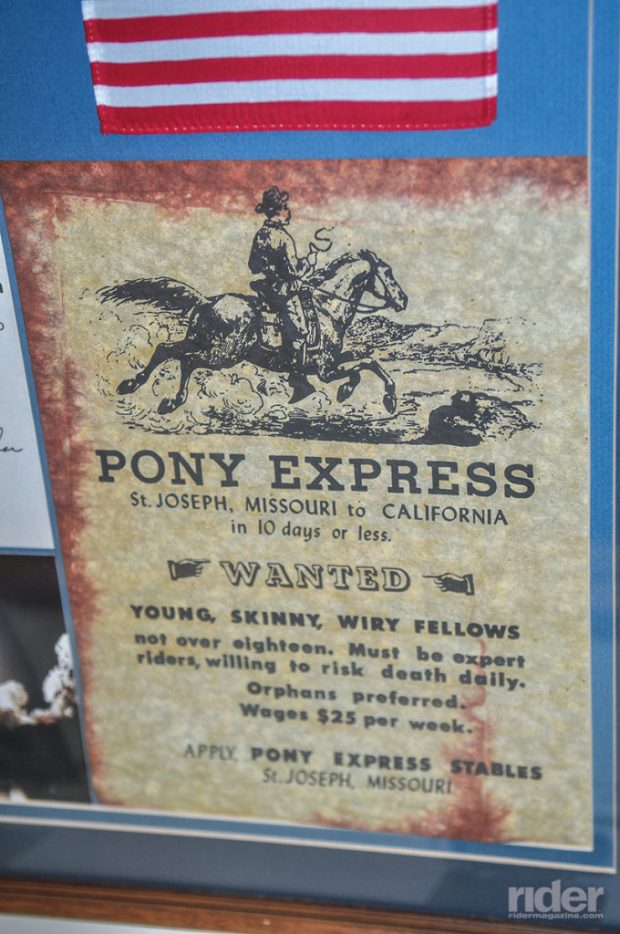 The Pony Express Stables in St. Joseph, Missouri. Riders traveled 2,000 miles over 10 days riding west to Sacramento, California. The original Iron Butt challenge?