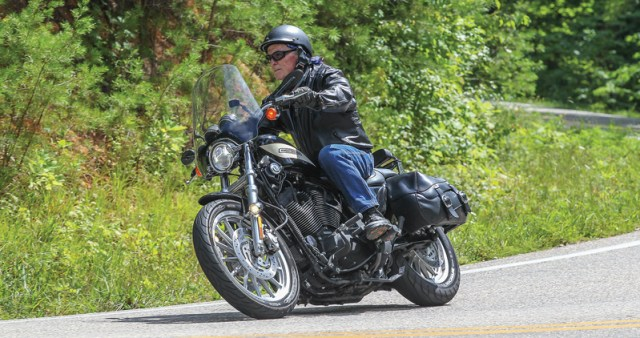 Old timer (your author) trying to look good on the twisties. (Photo by Moonshine Photo and used by permission.)
