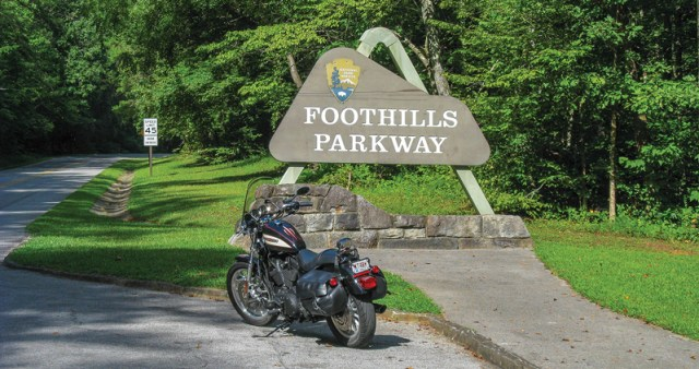 Foothills Parkway entrance near Townsend, Tennessee, off U.S. Route 321.