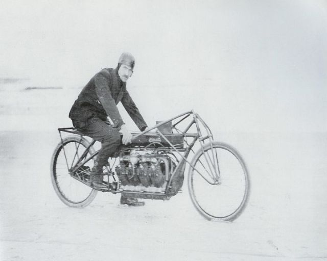 Glenn H. Curtiss on his V-8 motorcycle just before the record run.