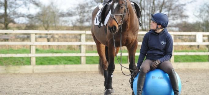 Riscaldamento del cavaliere amazzone seduta con cavallo a mano