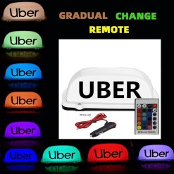 Uber Sign Light, Remote Control Waterproof Rideshare Roof LED Light, Decal Glow Accessories, 7 Glowing Colors Uber Light Signs For Cars
