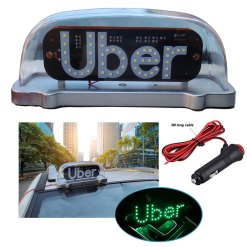 Rideshare LED Sign Bright LED Lights USB Rechargeable Lithium Ion Battery Rideshare Drivers Make Your Car Visible Wireless Removable Ride Share Accessories ULW