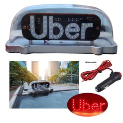 LED TAPE Magnetic Waterproof white Taxi Cab Roof Top Illuminated Sign Car white led Light Sealed Base with 3m power cable by