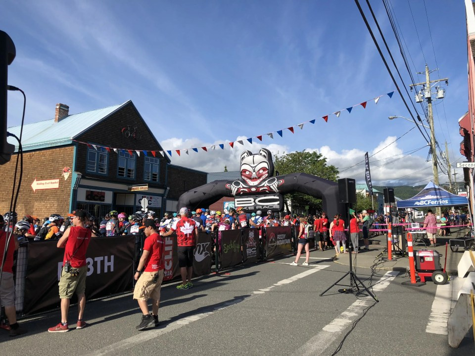 Start line at Cumberland, BC - BC Bike Race 2018