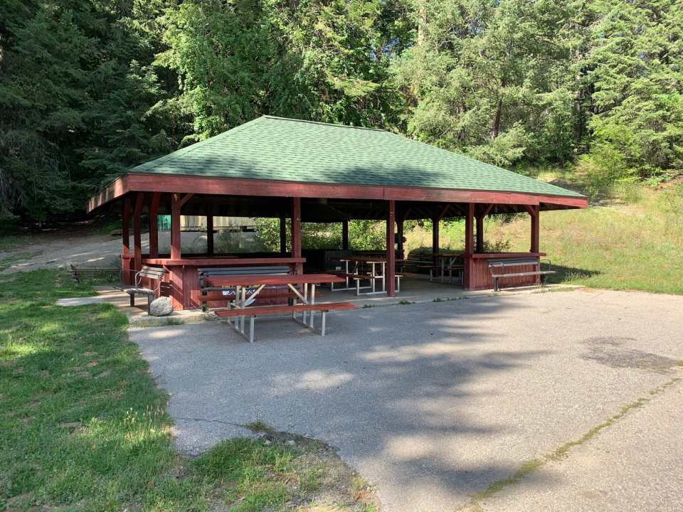 Rossland Lions Community Campground barbecue gazebo