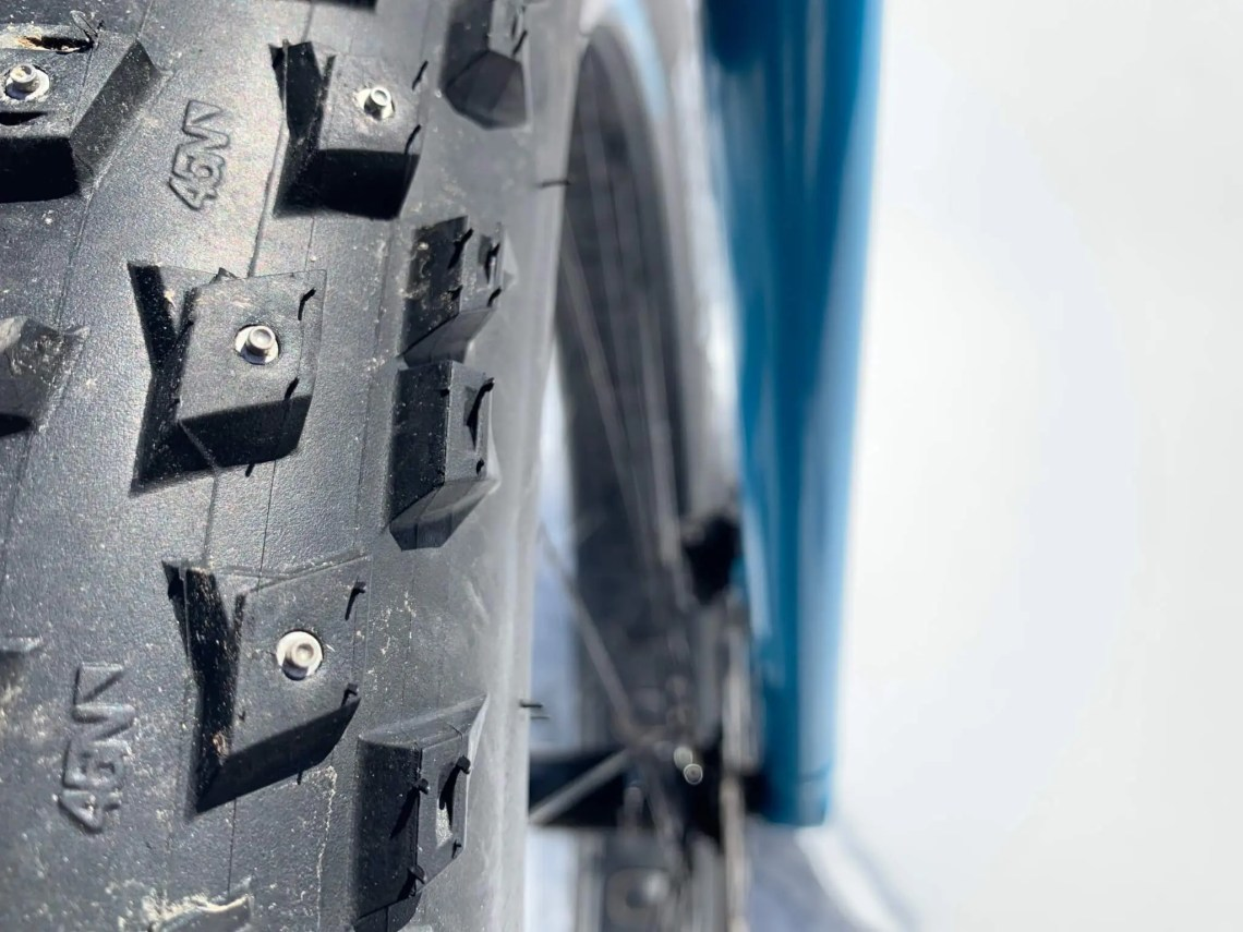 a studded fat bike tire