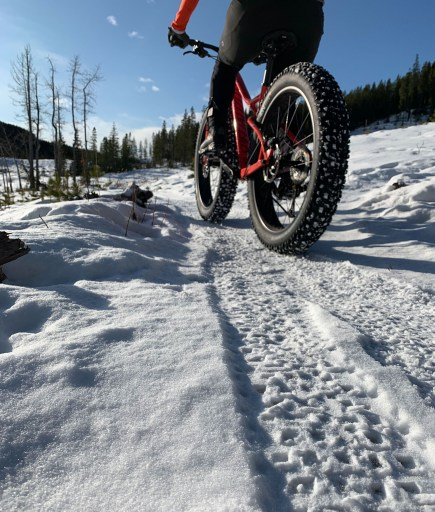 fat biking on studded tires