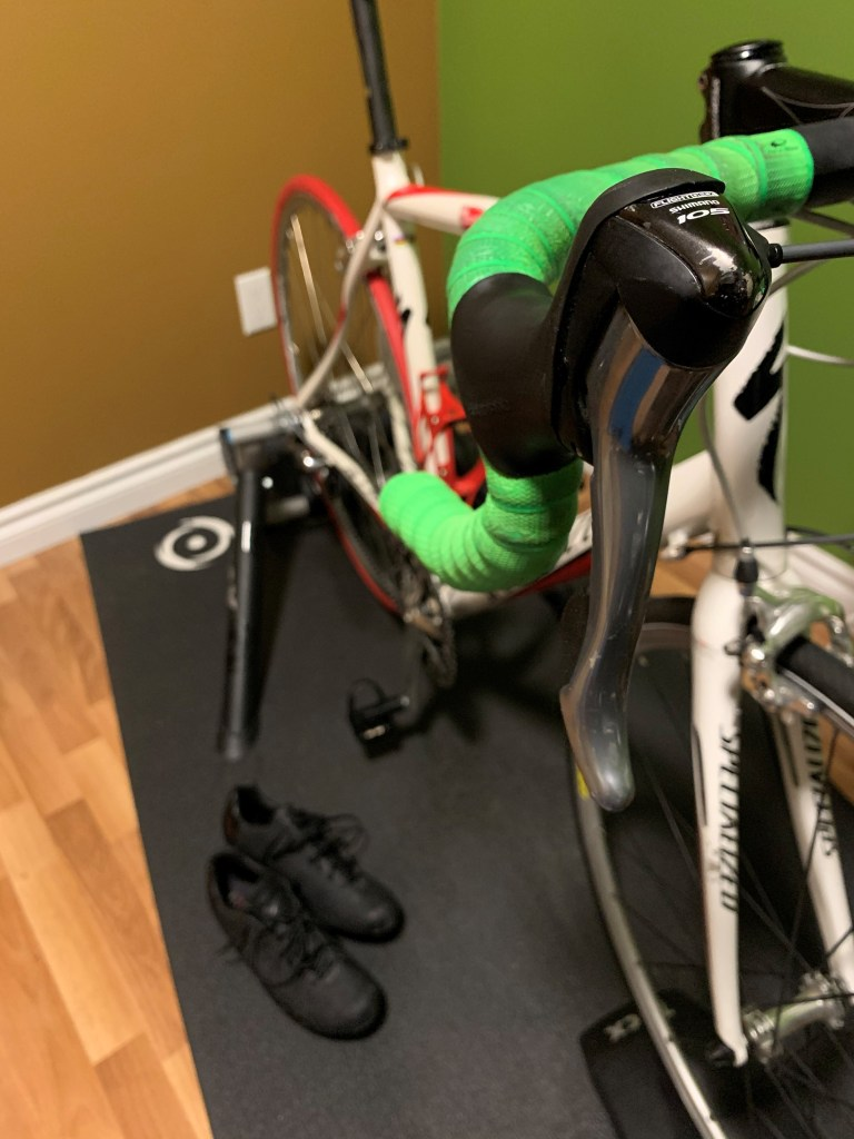 An indoor trainer waiting for an early morning ride