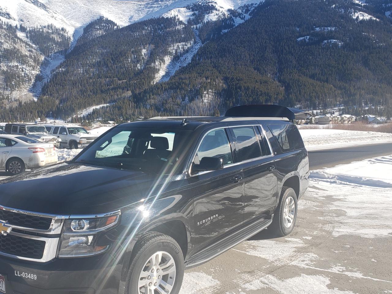 black Suburban SUV at Copper Mountain