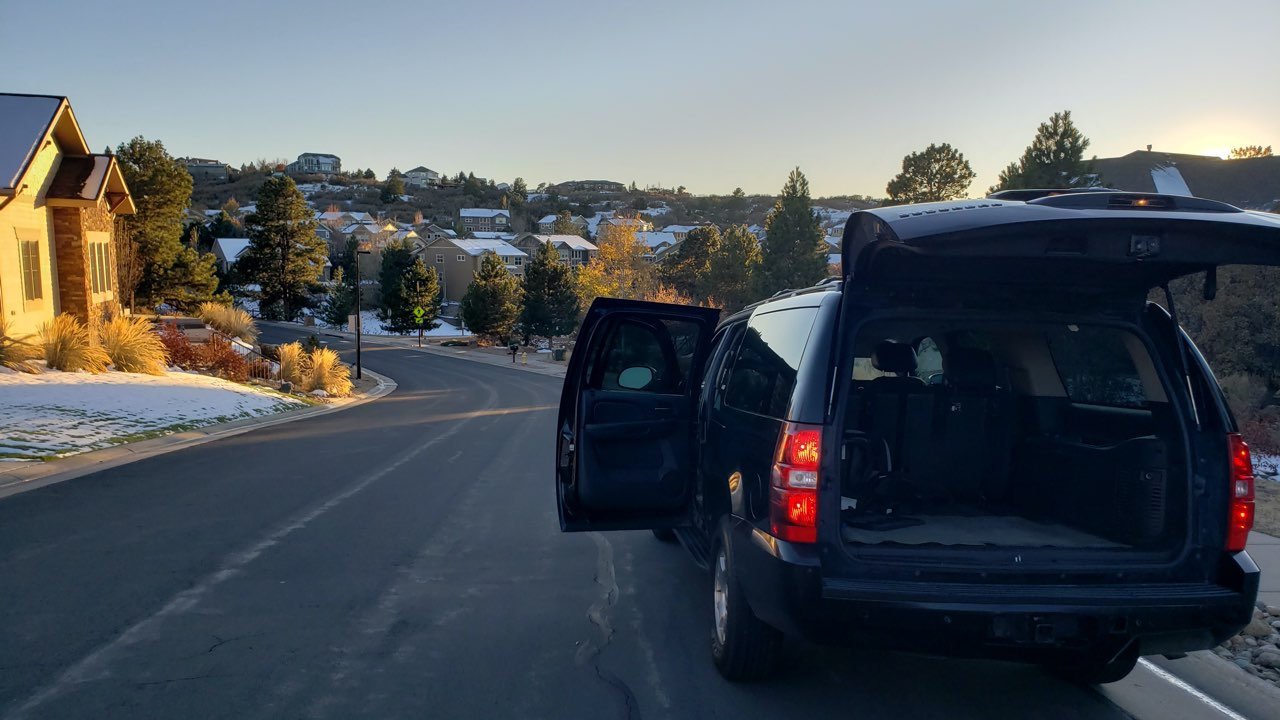 Black SUV ride to DIA from Castle Rock November 2019
