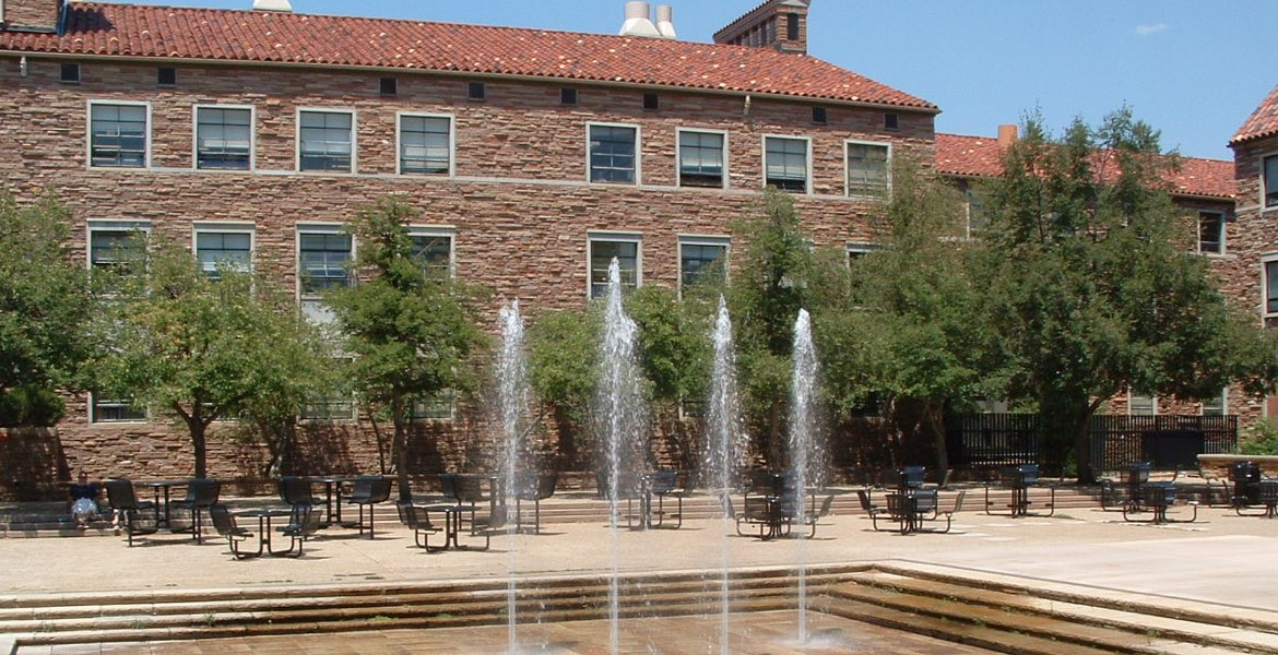 Fountains in the UMC courtyard at the University of Colorado at Boulder. Boulder transportation services to and from Denver International Airport (DIA)
