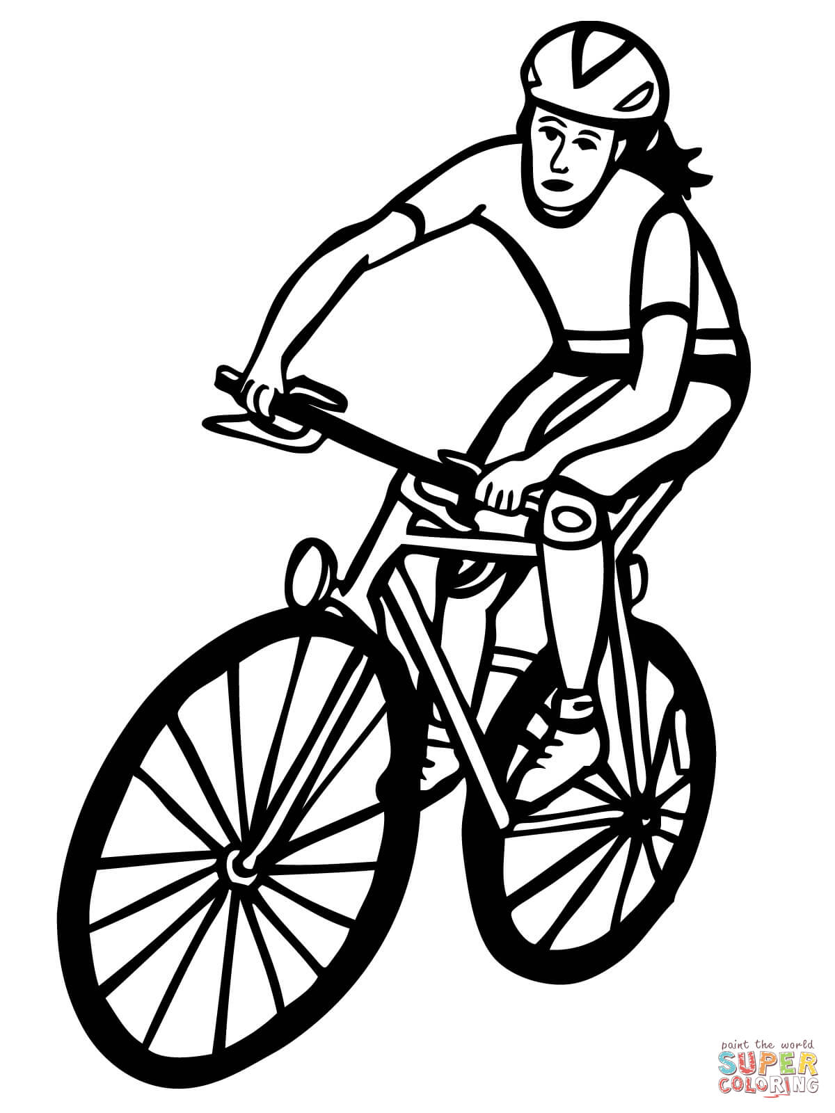 woman-cyclist-coloring-page