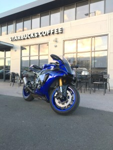 Blue motorcycle at Starbucks