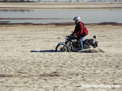Having fun surfing the sand bed