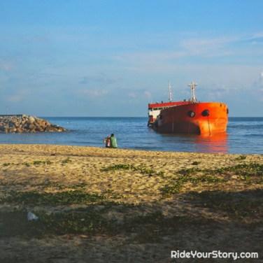 A stranded ship along Narathiwat beach.