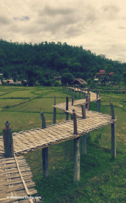 Pai bamboo bridge built by the villagers for the monks to cross the padi fields.
