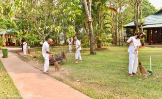 Cleaning our areas while being mindful is part of the meditation practice