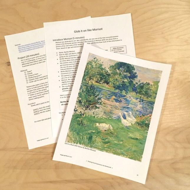 Morisot lesson plan for art education