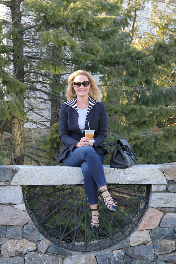 Ridgely Brode enjoys the warm weather while wearing some of her favorite pieces and an ice coffee on her blog Ridgely's Radar.