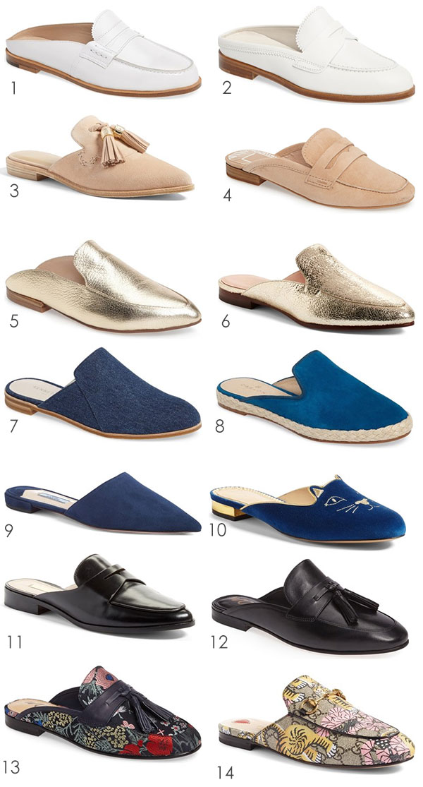 Backless Loafers are all the trend! Ridgely Brode find 14 pairs of backless loafers and shares them on her blog Ridgely's Radar.