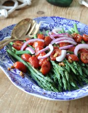 Looking for a healthy, delicious side dish Ridgely Brode makes Asparagus with Balsamic Tomatoes and Pine Nuts on her blog Ridgely